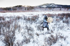 Shaman performs a ritual in a forest 100km north of the capital Ulaanbaatar, Mongolia - December 13, 2014