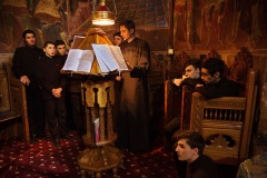 December 4, 2017 - students of St. George Orthodox Theological Seminary sing during a liturgy in the cathedral of Roman, Romania