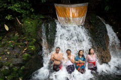 June 5, 2015 - purification ritual called melukat at Sebatu waterfall, Bali, Indonesia. Balinese people believe that the sacred water source can be used to clean their bodies and souls