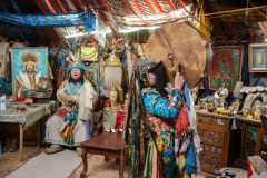 Mongolian shaman Zorigtbaatar performs a ritual in his yurt (tent) in the centre of Ulaanbaatar, the capital of Mongolia - December 4, 2014