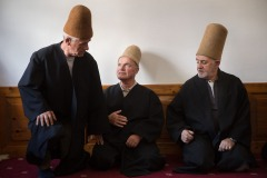 Sufi Muslims rest after the have performed zikr ritual in Halveti Hayati tekke in the town of Struga, Macedonia on September 22, 2017. Zikr or Dhikr is a form of devotion, associated chiefly with Sufism, in which the worshipper is absorbed in the rhythmic repetition of the name of God or his attributes.