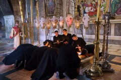 Armenian Orthodox monks in The Church of the Holy Sepulchre, Jerusalem - March 7, 2015