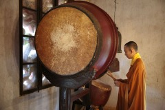 Buddhist monk in Tu Hieu monastery in Hue, Vietnam - September 23, 2016
