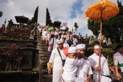 August 29, 2015 - Hindu pilgrims leave Pura Besakih temple after a ceremony, Bali, Indonesia.