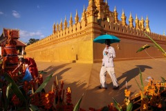Buddhist devotee during That Luang festival in Vientiane, Laos on November 13, 2016