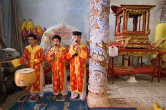 Traditional musicians perform during a Len Dong ritual of Dao Mau cult celebrated in the outskirts of Hue, Vietnam on September 21, 2016.