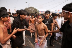 Ashura mourning in Kolkata, India. January 8, 2009 - Shi'ite worshipers bleed while cutting their bodies in a ritual display of mourning during an Ashura commemoration ceremony.