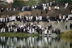 September, 2003 - Orthodox Jewish pilgrims pray near the tomb of Rabbi Nachman while celebrating Rosh Hashanah in Uman, about 200 km south of Kiev, Ukraine. Every year, thousands of Orthodox Bratslav Hasidic Jews from different countries gather in Uman to mark Rosh Hashanah, Jewish New Year, near the tomb of Rabbi Nachman, a great grandson of the founder of Hasidism.