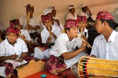 August 22, 2015 - Balinese boys play traditional music during a Hindu temple festival in the village of Tegallalang, Bali, Indonesia.