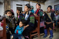 Women and children of Black Hmong tribe celebrate Mid-Autumn festival in a catholic church in the village of Lao Chai, Vietnam on September 10, 2016.