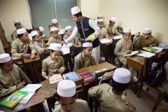 Students of a religious school - madrasa in Dhaka, Bangladesh - February 2015