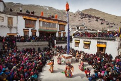 Tibetan Buddhist festival in Stok gompa (monastery) in Ladakh, India - February 19, 2013.