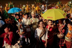 A procession of Buddhist devotees during That Luang festival in Vientiane, Laos on November 13, 2016