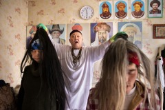 Samigulla - the traditional Kazakh shaman performs a cleansing ritual in his flat in Almaty, Kazakhstan on Sunday, November 18, 2018