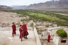 Tibetan Buddhist novices in Thikse monastery, Ladakh, India - August 7, 2012